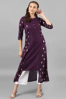 e4638a9605 Purple Kurti Online | Buy Plain Purple Kurtis with Embroidery Neck ...