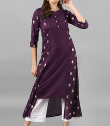 Purple printed silk kurti