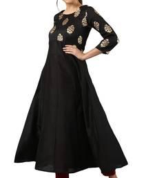 Black printed silk kurti