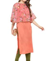 Pink printed silk kurti