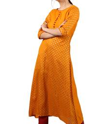Orange printed silk kurti