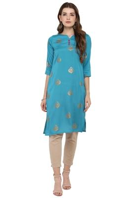 Sky-blue printed silk kurti
