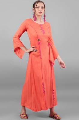 Peach printed rayon kurti