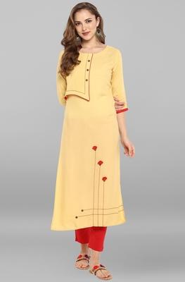 Light-yellow printed rayon kurti