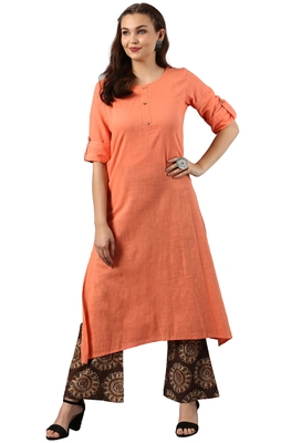 Peach printed cotton kurti