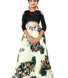 219984770429 F Plus Fashion Multi Color Printed Banglory Satin Kids Lehenga Choli With  Blouse