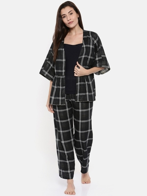 Reversible Plaids Lounge Set with Slip