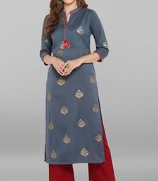Grey printed silk kurti
