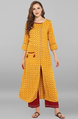 Mustard printed rayon kurti