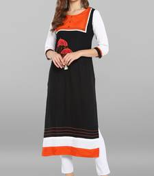 Black embroidered rayon kurti