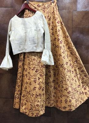 Multicolor printed satin semi stitched lehenga with dupatta