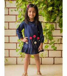 Buy Blue linen embroidered kids frocks kids-frock online