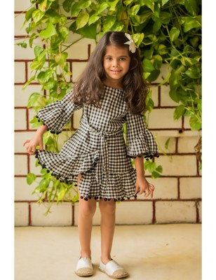 Black cotton woven kids frocks