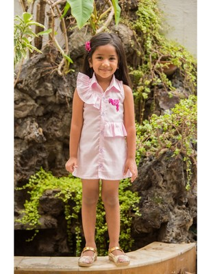 Pink linen embroidered kids frocks