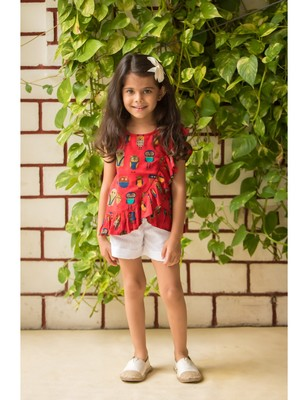 Red cotton printed kids frocks