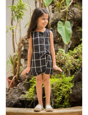 Black cotton printed kids frocks