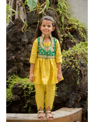 Yellow cotton embroidered kids frocks