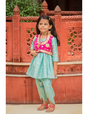 Cotton embroidered kids frocks