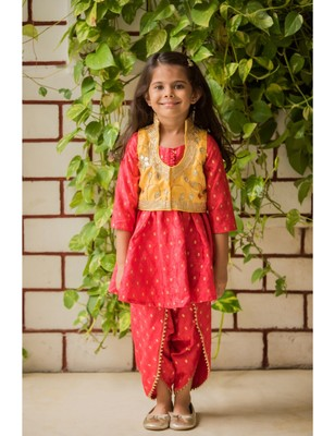 Red cotton embroidered kids frocks