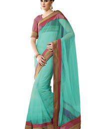Buy Sea-green embroidered net saree with blouse net-saree online
