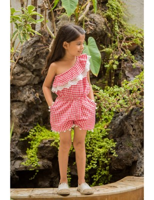 Red Cotton Woven Kids Frocks