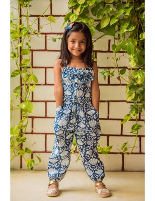 Blue cotton printed kids frocks