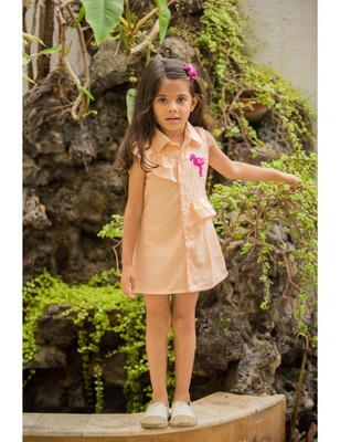 Orange linen embroidered kids frocks