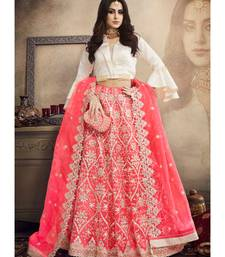 pink embroidery net lehengas with blouse