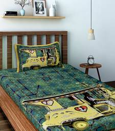 Yellow Auto Rickshaw Cotton Single Bedsheet with 1 pillow Cover