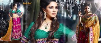Ghunghroo Designer Lahenga Sari 7708