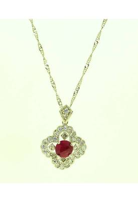 Just Women  - Genuine Ruby Pendant Set