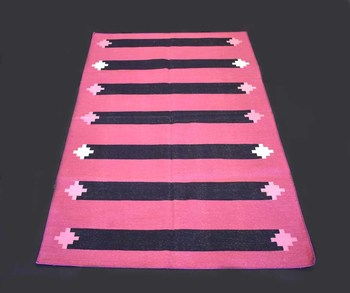 Hand-Woven Rectangle Shape Pink Color 100% Cotton Attractive Traditional Kilim Rug
