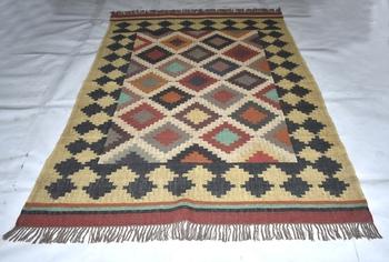 Rectangle Handmade WooL Jute Kilim Rug Multi Coloured Size 5X8 Feet