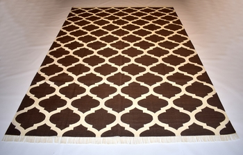 Handmade Brown Color Handwoven Flat Weave Size 6x9 Feet Cotton Area Kilim Rug