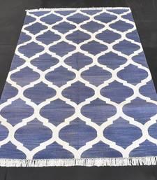 Blue Ekath Traditional Matka Designer 100% Cotton Kilim Area Rug