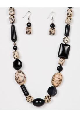 Just Women - Genuine Black Onyx and Dalmatian Necklace Set