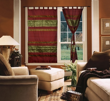 Living Room Decoration silk Curtains For Windows 7ft x 4ft