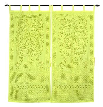 Home Decorative Handmade Peacock Design Cotton Curtians For Housewarming Gift