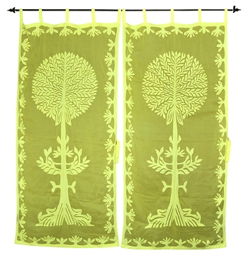 Yellow Color Luxury Tree Of Life Curtain For Living Room Décor