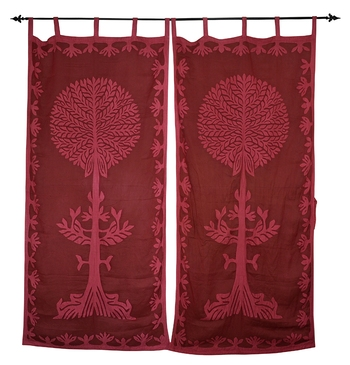 Lal Haveli Handmade Cotton Tree Of Life Curtain For Bedroom