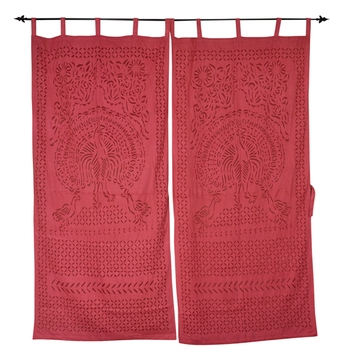 Peacock Design Door Cotton Curtain Decorative