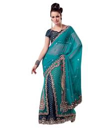 Sky blue embroidered jacquard saree with blouse