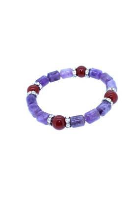 Genuine Amethyst Carnelian lucky charm Bracelet