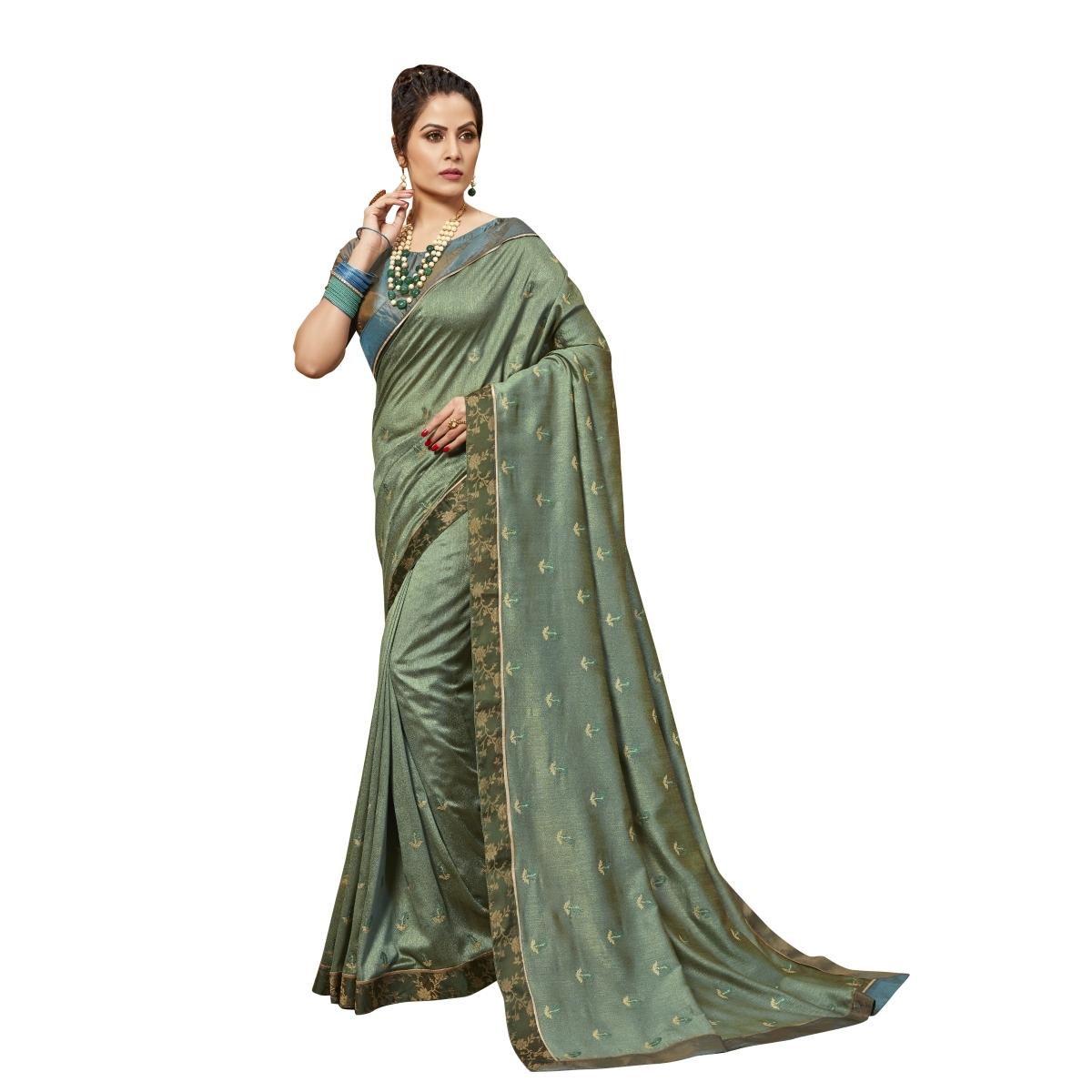ea1fef319 Grey embroidered chanderi silk saree with blouse - De Marca - 2797172