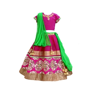 Magenta embroidered brocade stitched lehenga