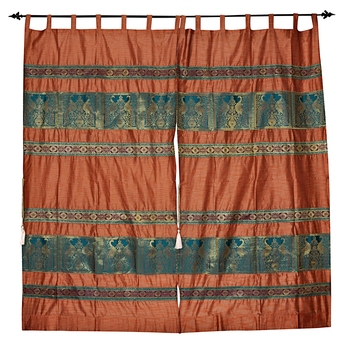 Lal Haveli silk Fabric Tab Top Window Curtain Home Decoration Living Room 42 X 85 inches