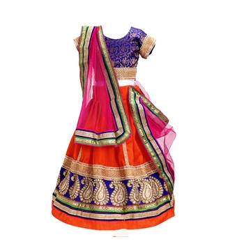 Orange embroidered brocade stitched lehenga