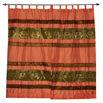 Lal Haveli silk Designer Window Curtains for Living Room 42 X 85 inches