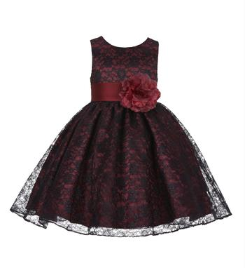 Maroon Plain Net Kids Frocks