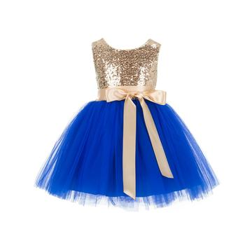 Blue Embroidered Net Kids Frocks